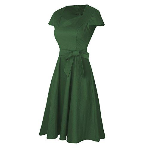 NALATI Sommerkleid Vintage V-Ausschnitt Kurzarm Hochzeit Elegant Partykleid mit Gürtel A-line Swing Kleid Grün