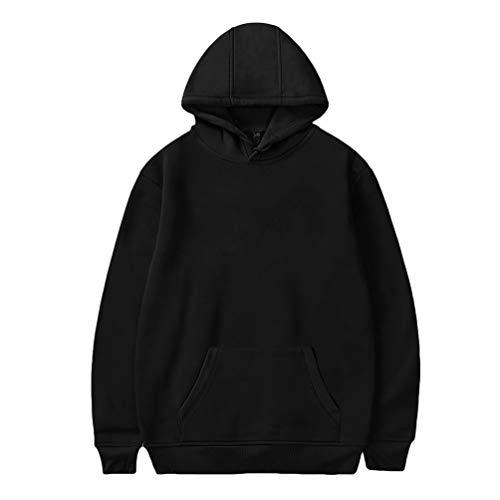 Yiijee unisex lightweight traspirante felpe con cappuccio tinta unita moda hooded felpa coulisse pullover tops per autunno invernale nero l