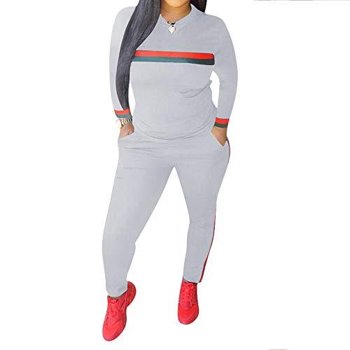 Grau Sweatsuit (Unifizz Frauen 2 Stück Outfits Langarm-Top und Lange Hosen Sweatsuits Set Sport Trainingsanzüge, XXL, Lange Ärmel-grau)