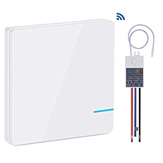 Yblntek Wireless Light Switch and Receiver Kit,No WiFi Required Outdoor 1900ft Indoor 130ft Remote Control with Led Light Wireless Panel Switch IP54 Waterproof (1 Switch 1 Receiver Kit)
