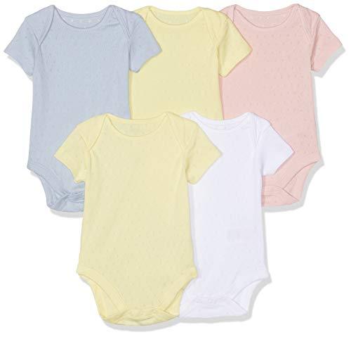 Mothercare Baby-Mädchen Pastel Pointelle Bodysuits - 5 Pack Formender Body, Mehrfarbig (Lights Multi 213), Neugeborene (Herstellergröße : 50 cm) Baby-pointelle