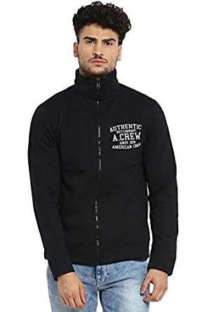 AMERICAN CREW Men's Solid Full Sleeves Black Zipper Jacket with Applique -S (ACJK09-S)