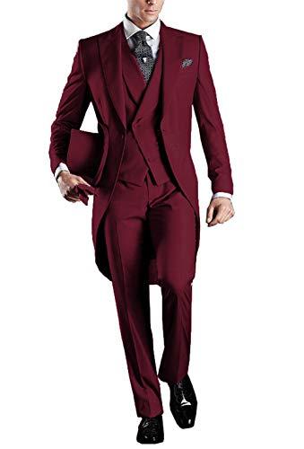 YYI Herren 3 Stück Frack Anzug Set Business Tuxedo für Männer Jacke, Weste, Anzughose - Neue Tuxedo-weste