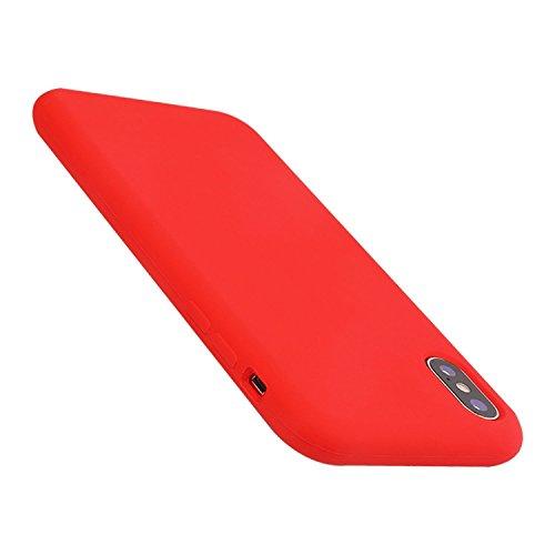 iPhone X Fall, vroco Liquid Silikon Gel Gummi stoßfest Fall mit Weicher Mikrofaser Tuch Futter Kissen für Apple iPhone X (2017), Rot Louis Vuitton Iphone Fällen