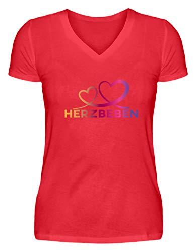 Shirtee Herzbeben - Bunte Herzen - Liebe Helene - V-Neck Damenshirt -S-Kaiserliches Rot