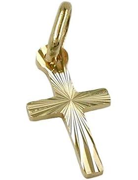 Unbespielt Kettenanhänger Anhänger für Halskette Unisex Kreuz diamantiert 585 Gold 14 kt 14 x 7 mm