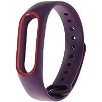 Hemobllo Wriststrap de Silicona de Repuesto para Pulsera Inteligente Miband 2 Xiaomi 2 (púrpura + Rojo)
