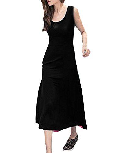 Femme Col Rond Sans Manche Modèle Patchwork Bicolore Robe Décontractée Noir,Fuchsia
