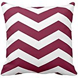 Modern Chevron Stripes in Cranberry Red and White Pillow case 2222