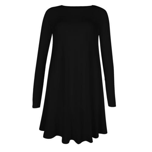 New Womens Plain Long Sleeve Stretch A Line Skater Flared Swing Dress Top 8-26