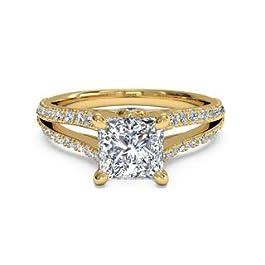 1.05 carati taglio principessa solitario diamante anelli di nozze 14CT 18CT oro giallo massiccio anello di fidanzamento…