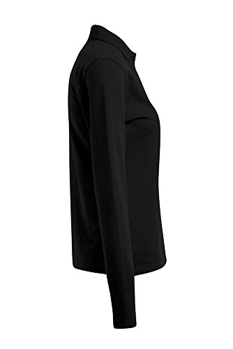 Langarm Poloshirt Damen Schwarz