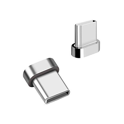 LAMA Magnet Typ C Adapter [2 Stück] Magnetischer USB C Ersatzstecker für Samsung S9+ S9 S8+ S8 Note 8 Huawei P20 Pro P20 Lite P20 P10 Plus P10 Xperia XZ2 XZs HTC U11 Mi 6 und mehr (ohne Kabel) Silber