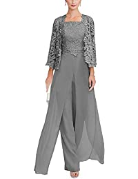 a18d2afdcad Women s 3 Pieces Chiffon Mother of Bride Dress Pant Suits with Long Sleeves  Appliques Lace Jacket