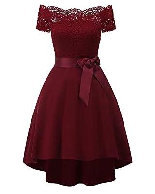 Bright Deer Women Lace Scallop Bardot Dip Hem Vintage Pinup Elegant Dress
