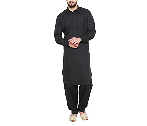 Sojanya Men's Poly Cotton Kurta Pyjama (Sjr-155-44_Black_Xx-Large)