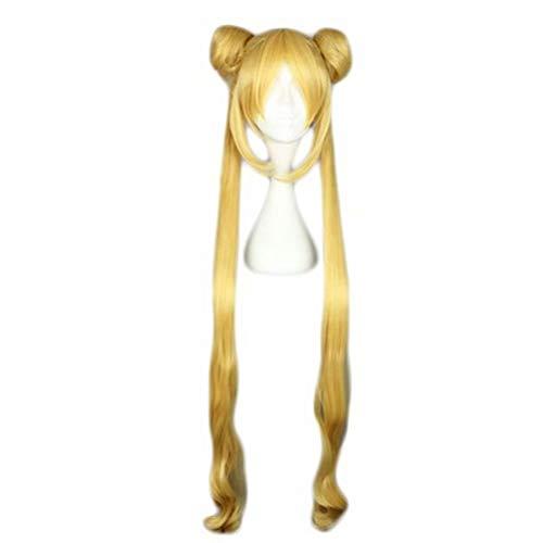 Charakter Kostüm Tv Show - COSPLAZA Cosplay Perücke Gelb Lose Welle Lange Haare Mädchen Movie TV Show Charakter Spielen Kostüm Party Perücke mit Odango, Full Bangs