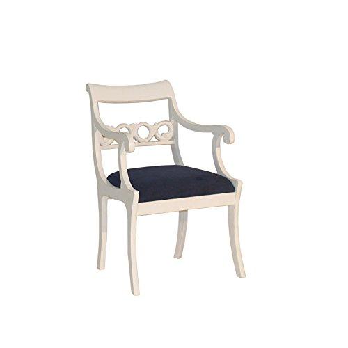 Armlehnenstuhl Imme Mahagoni weiß Landhausmöbel Stilmöbel Stuhl Sessel Esszimmerstuhl Küchenstuhl