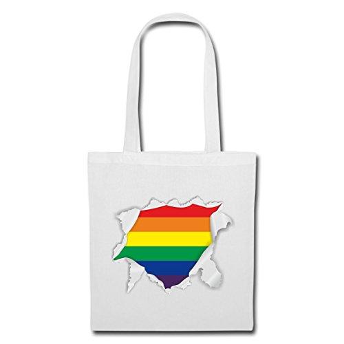 Spreadshirt Rainbow Inside Regenbogen Stoffbeutel Weiß