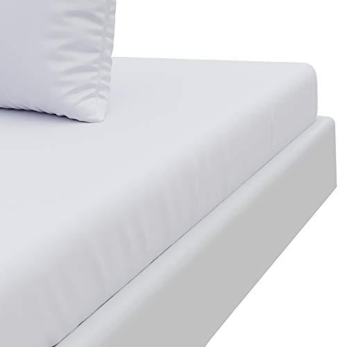 Sábana Bajera Elástica, Tacto Ultra Suave, Blanco Alabastro (160 x 200 cm, Adulto) - Fabricado en Europa - Certificación OEKO TEX - 100% Microfibra, Sin Pliegues con Gran Dobladillo