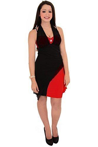 SAPHIR BOUTIQUE Femmes Dos-nu Sans manche côté froncé Arc Maille Superposition Robe Moulante Rouge/noir