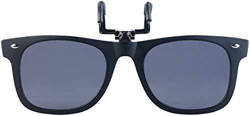 PEARL Sonnenclip: Sonnenbrillen-Clip in klassischem Retro-Look, polarisiert, UV400 (Vorhänger Sonnenbrille)