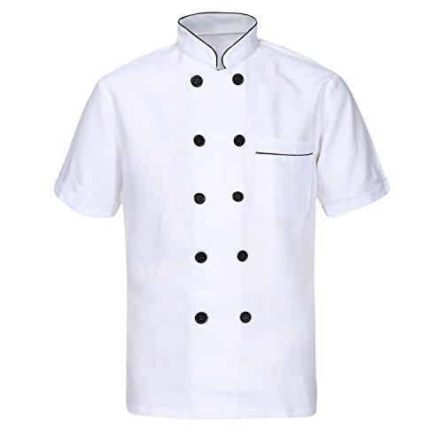 Unisex Herren Kochjacke weiß kurzarm Baumwolle Küche Hotel Kochkleidung Uniform Berufsbekleidung mit knöpfen CFM0001, Wei, Kurzarm L