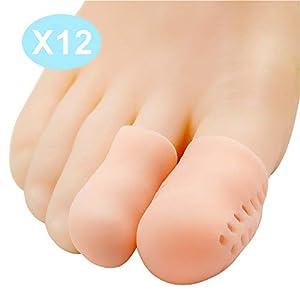 Bukihome Zehenkappen, [12x] Silikon Zehenschutz, gegen Blasenbildung und Schwielen, Premium Atmungsaktiv Zehenpflaster Für Männer und Frauen