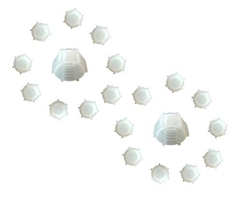 Kartuschenverschlusskappe 20 STÜCK Verschlusskappe für Kartuschen, Kartuschenverschluss mit Grobgewinde Schraubkappe Silikon Kartusche wiederverwenden und sicher verschließen Kartusche zumachen -