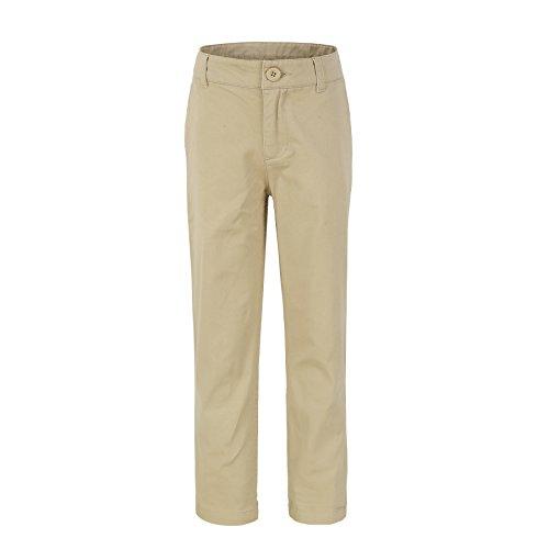 Bienzoe Groß Jungen Schuluniformen Baumwolle Dehnbar Schlank Flache Vorderseite Einstellbar Taille Hose Khaki Größe 16 (Hose Flache Taille)