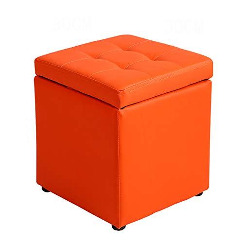 HUOXU Polsterhocker mit Stauraum, Memory-Schaumstoff-Fußstütze, Kunstleder, kleine Ottomanenbank, mehrere Farben Orange