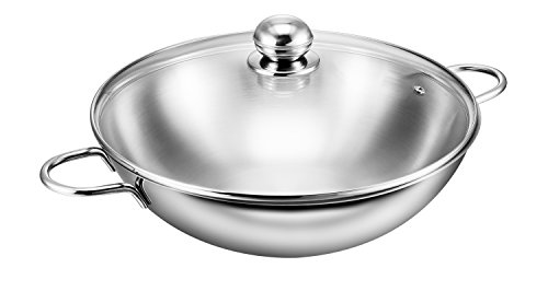 Kopf Josie Wok with Glass Lid, Stainless Steel, Diameter 32 cm