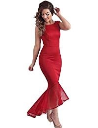 4db93b65f0 ... Size 8-10 · £20.00 Prime. Betty-Boutique Red Tulle Fishtail Sleeveless  Long Party Dress