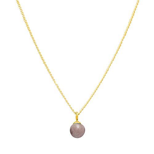 Louise Kragh Damen Halskette Gold Minipearl (Desert Sand): Mit rundem Perlen Anhänger fein und schmückend 925 Silber hochglänzend vergoldet - NMIN0102SANg