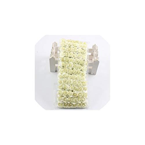 tliche Blumen 144PCS / Lot 1,5 cm künstliche kleine Papierrose Partei liefert Hochzeit Auto Dekoration, Milch weiß ()