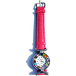 Venice One 1 Lady Watch with authentic Murano Glass certificate Millefiori lampwork with leather fuchsia strap and Original box by Corte Murrina