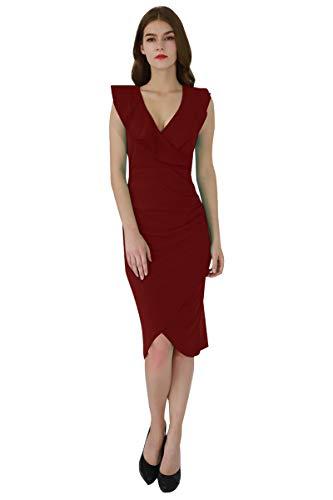 YMING Damen Volant Kleid Sexy Partykleid Elegante Midi Bleistiftkleid,Rot,L/DE 40-42 (Billig Red Club Kleider)