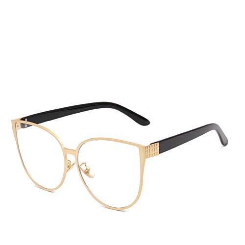 Yangjing-hl Cat Eye Rahmen Brille Brille Persönlichkeit Big Box Flachspiegel Goldrahmen