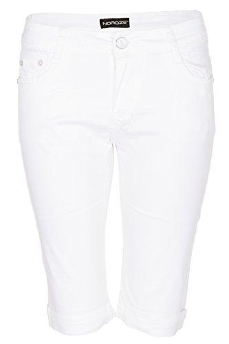 Cuff Capri (Noroze Damen Baumwoll Combat Chino Capri Cargo Shorts Kurze Hose (Weiß, 2XL))