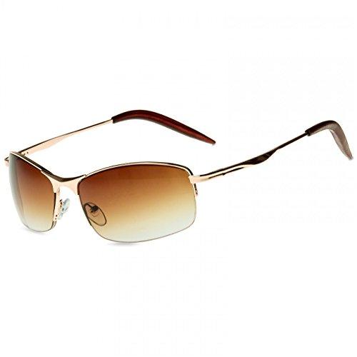 CASPAR SG010 Unisex Matrix Sport Sonnenbrille, Farbe:gold/braun getönt