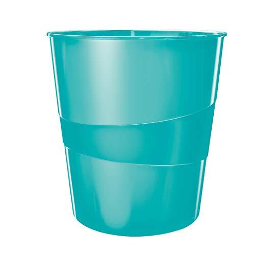 Leitz Papierkorb, 15 Liter, Kunststoff, Eisblau Metallic, WOW, 52781051
