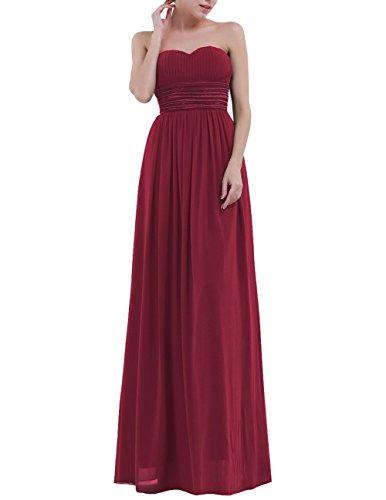 iiniim Elegant Damen Kleid Festlich Trägerlos Abendkleider Hochzeit Brautjungferkleid Langes Chiffonkleid Cocktailkleider Partykleid Gr.36-46 Burgundy