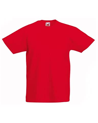 Fruit of the Loom Kinder Unisex T-Shirt, kurzärmlig 7-8-jährige,Rot