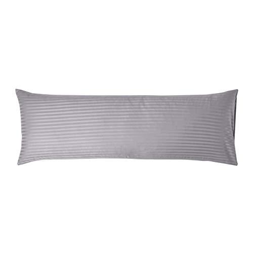 Homescapes Bezug für Seitenschläferkissen grau mit Satin-Streifen 50 x 140 cm - 100% Reine ägyptische Baumwolle, Fadendichte 330 - Kissenbezug für Lagerungskissen -