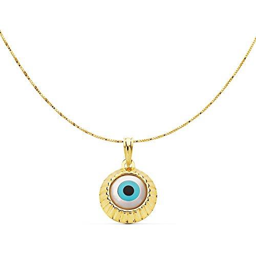 Alda Joyeros Collar Mujer Ojo Turco Nazar Oro Amarillo 18 kilates Gargantilla con Charm Evil Eye Amuleto