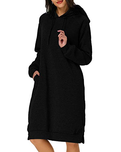 Kidsform Femme Robe Sweat à Capuche Manche Longue Outerwear Casual Pull Hoodie Jumper Noir EU 40-42