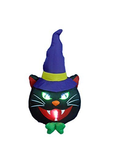 (BZB Goods 4 Foot Illuminated Halloween Inflatable Black Cat with Witch Hat Decoration by BZB Goods)