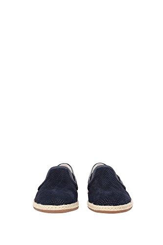 A50024AB1888C653 Dolce&Gabbana Pantoufle Homme Chamois Bleu Bleu