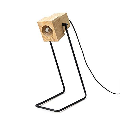 Yafido Lampada da Scrivania Design Legno Lampada da Tavolo Sostituibile E27 LED Lampadine per Bambini Camera da Letto Ufficio Studio Girevole a 360 Gradi