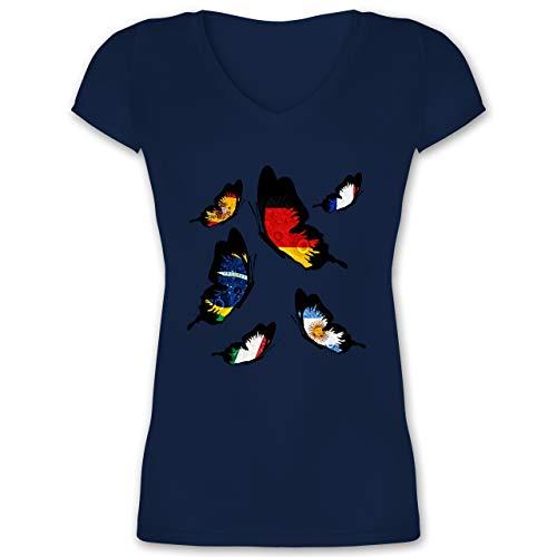 Länder - WM 2018 Länder Schmetterlinge - XS - Dunkelblau - XO1525 - Damen T-Shirt mit V-Ausschnitt
